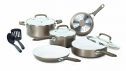 WearEver C944SA64 Pure Living Nonstick Ceramic Coating PTFE-PFOA-Cadmium Free Dishwasher Safe 10 Piece Cookware Set, Champagne Gold